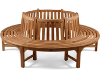 Full tree seat teak bench