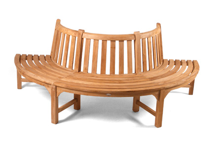 tree seat centre teak garden bench for sale at Just Teak